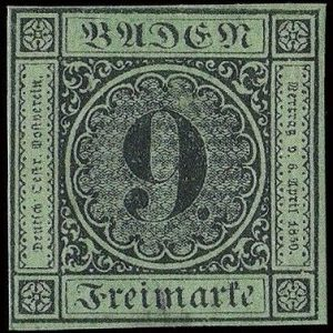 rarest german stamps - Baden 9 Kreuzer valuable German stamp