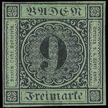 image of  Baden 9 Kreuzer valuable and rarest German stamp