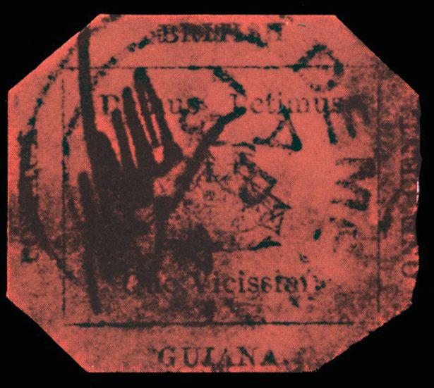 image of the British Guiana One Cent Black on Magenta rare stamp