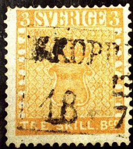 Valuable Swedish stamp: Sweden Three Skilling Banco Yellow rare stamp