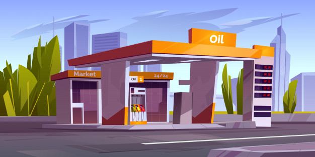 vector image of a gas station that sells stamps